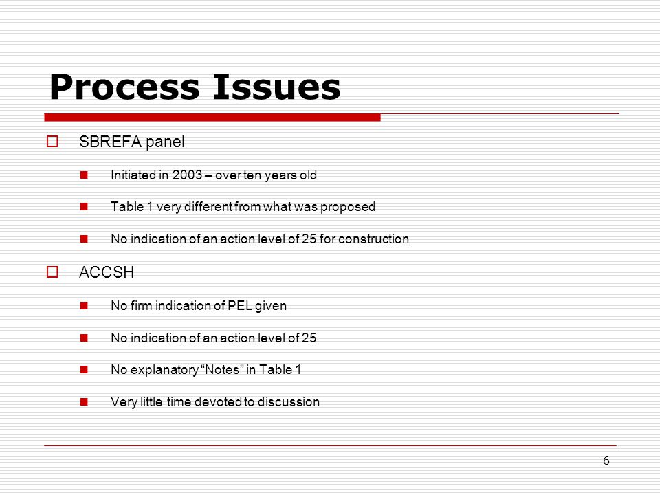 Process Issues  SBREFA panel Initiated in 2003 – over ten years old Table 1 very different from what was proposed No indication of an action level of 25 for construction  ACCSH No firm indication of PEL given No indication of an action level of 25 No explanatory Notes in Table 1 Very little time devoted to discussion 6