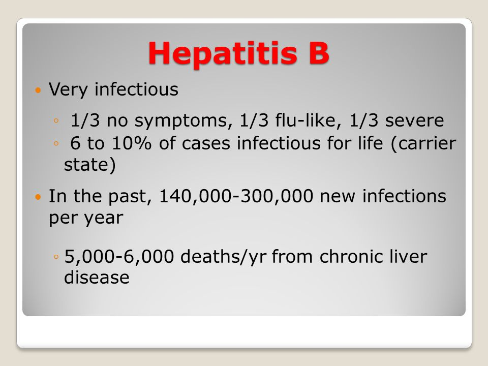 Hepatitis B Very infectious ◦ 1/3 no symptoms, 1/3 flu-like, 1/3 severe ◦ 6 to 10% of cases infectious for life (carrier state) In the past, 140,000-3