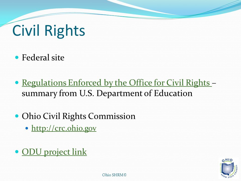 Civil Rights Federal site Regulations Enforced by the Office for Civil Rights – summary from U.S. Department of Education Regulations Enforced by the
