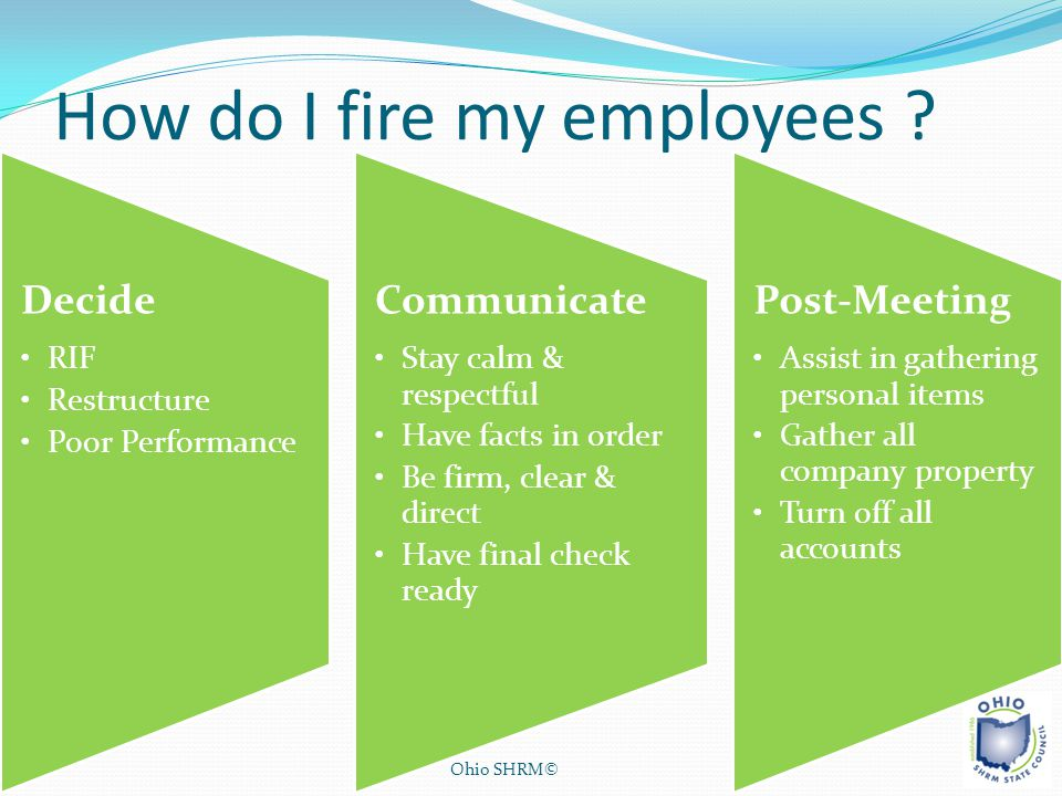 How do I fire my employees ? Ohio SHRM© Decide RIF Restructure Poor Performance Communicate Stay calm & respectful Have facts in order Be firm, clear