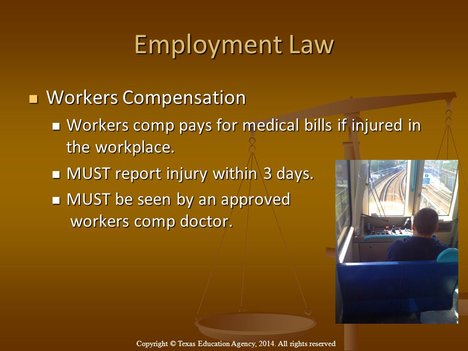 Employment Law Workers Compensation Workers Compensation Workers comp pays for medical bills if injured in the workplace.