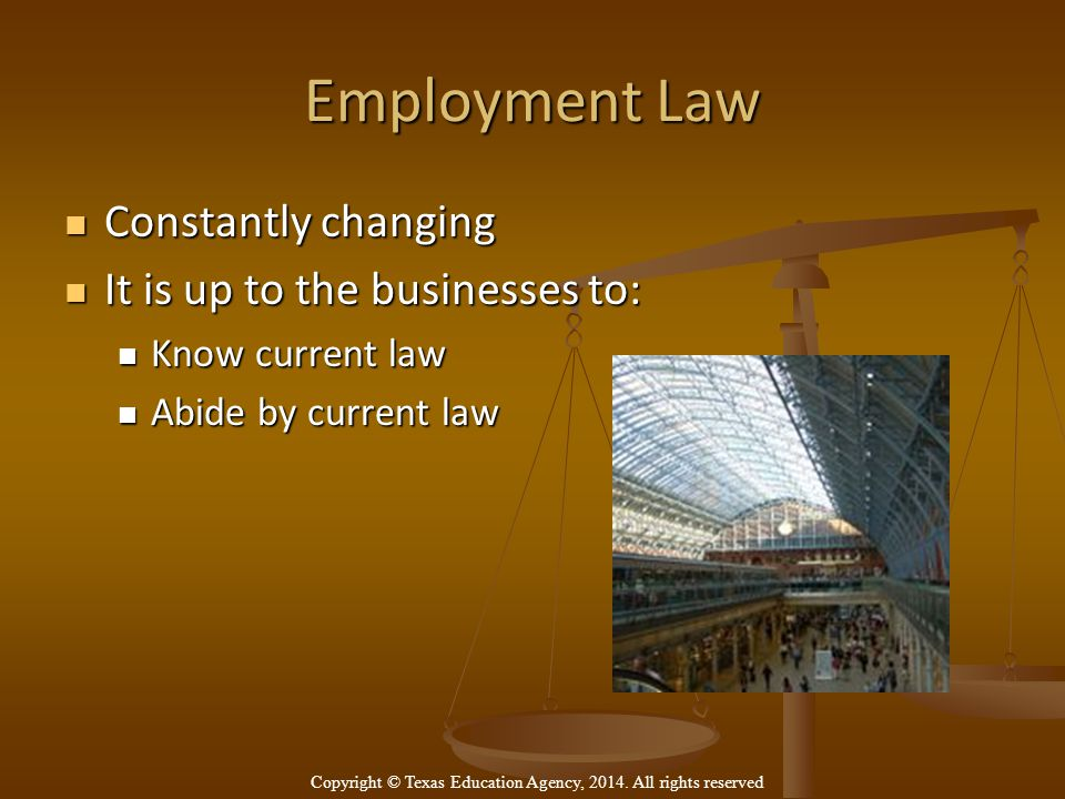 Employment Law Constantly changing Constantly changing It is up to the businesses to: It is up to the businesses to: Know current law Know current law