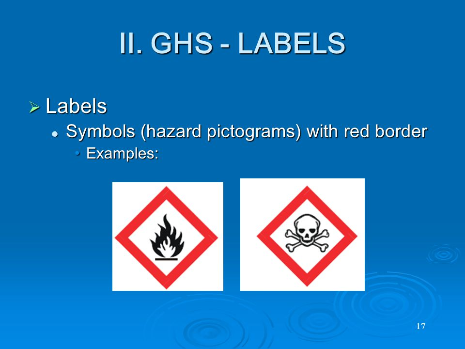  Labels Symbols (hazard pictograms) with red border Symbols (hazard pictograms) with red border Examples:Examples: 17 II.