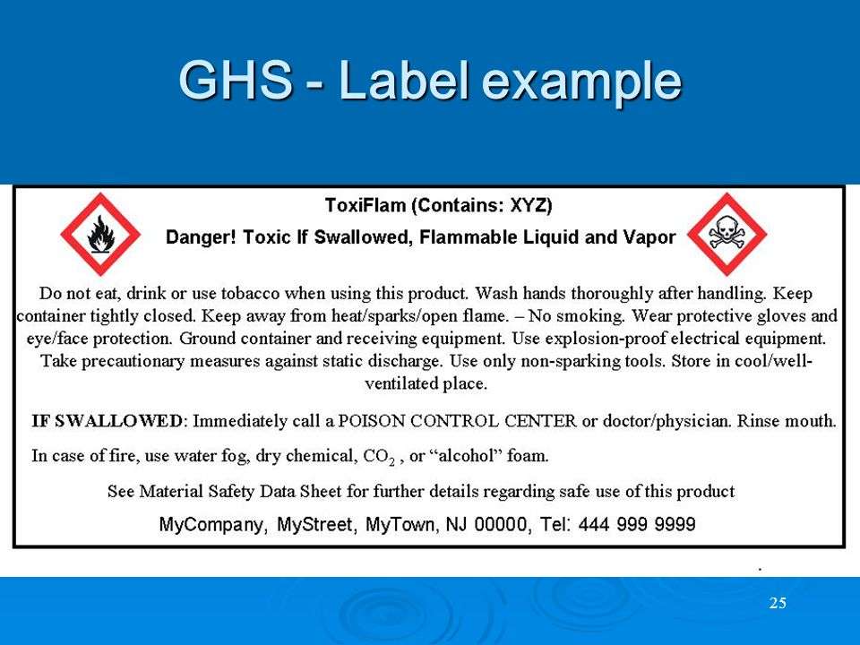 25 GHS - Label example