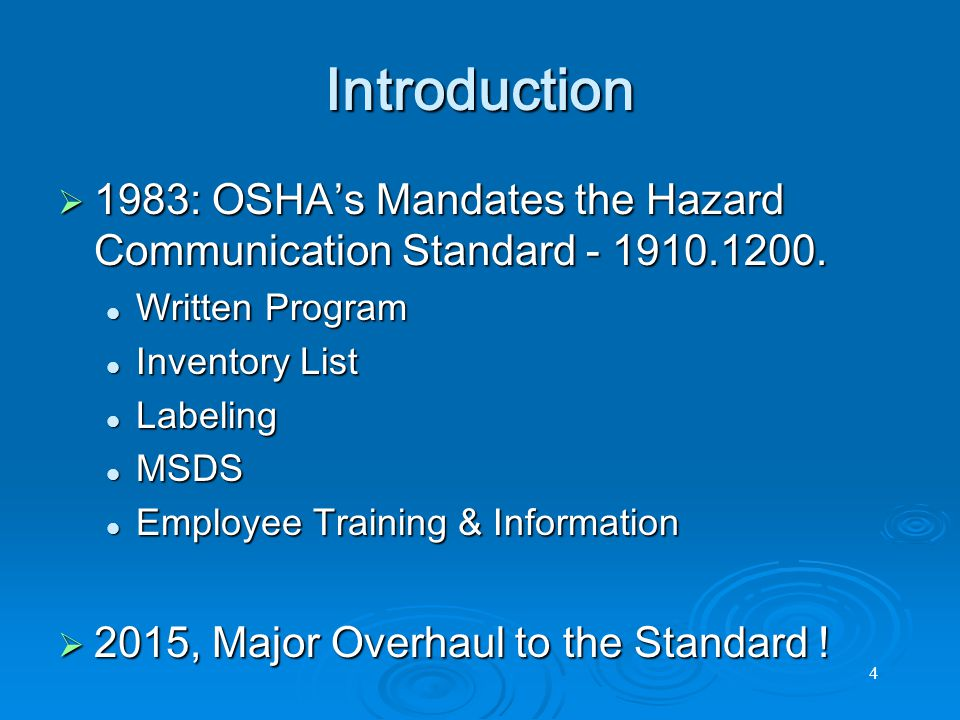 5 GHS Overview  Globally Harmonized System of the Classification & Labeling of Chemicals and Safety Data Sheets United Nations guidance for a uniform (harmonized) hazard communication system United Nations guidance for a uniform (harmonized) hazard communication system Initiated at the 1992 United Nations Conference on Environment and Development (UNCED)Initiated at the 1992 United Nations Conference on Environment and Development (UNCED) Based on major existing systems Based on major existing systems USA and Canadian systems for the workplace, workplace, consumers and pesticidesUSA and Canadian systems for the workplace, workplace, consumers and pesticides European Union directives for classification and labeling of substances and preparationsEuropean Union directives for classification and labeling of substances and preparations United Nations Recommendations on the Transport of Dangerous Goods.United Nations Recommendations on the Transport of Dangerous Goods.