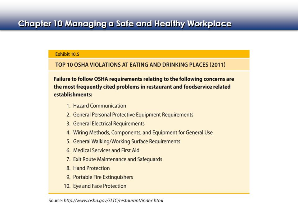Chapter 10 Managing a Safe and Healthy Workplace