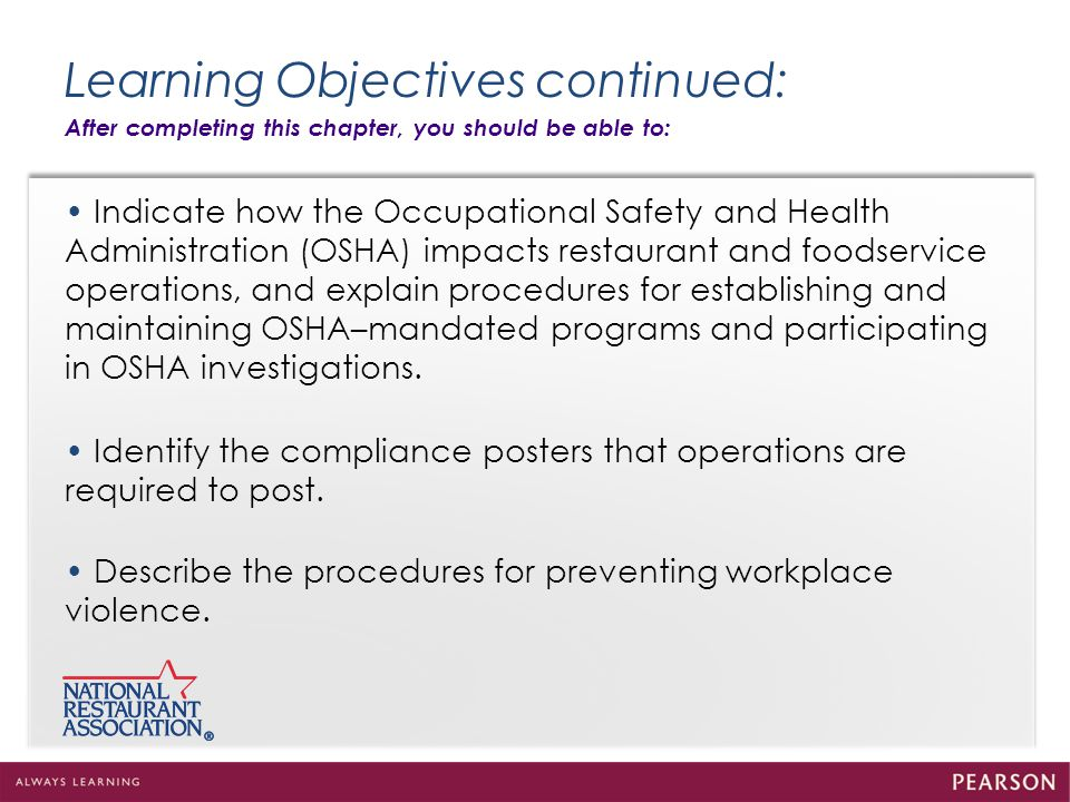 Learning Objectives continued: After completing this chapter, you should be able to: Describe the procedures for developing emergency management programs.