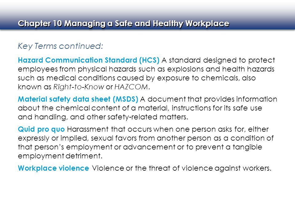 Chapter 10 Managing a Safe and Healthy Workplace Chapter Images