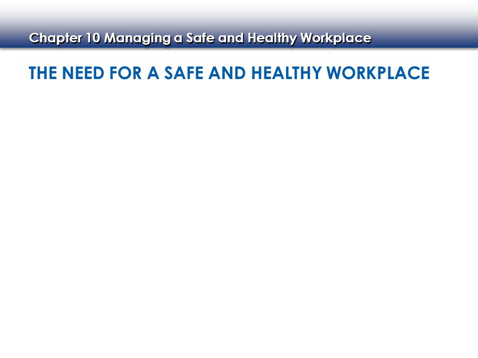 Chapter 10 Managing a Safe and Healthy Workplace SEXUAL HARASSMENT Two Types of Sexual Harassment Sexual Harassment Policies Preventing a Hostile Environment Addressing Harassment Claims