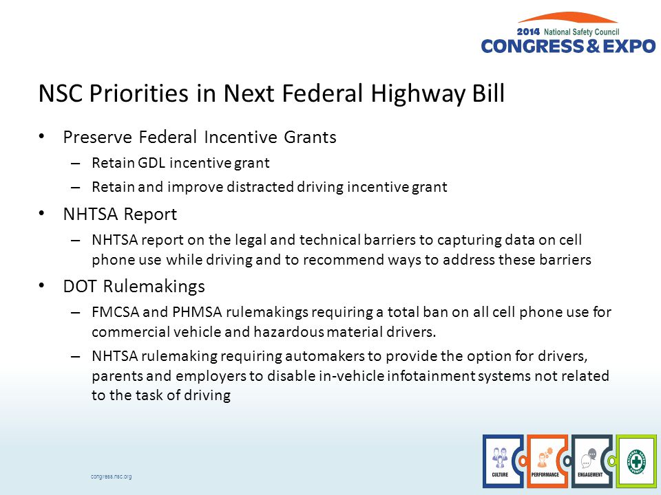 congress.nsc.org NSC Priorities in Next Federal Highway Bill Preserve Federal Incentive Grants – Retain GDL incentive grant – Retain and improve distracted driving incentive grant NHTSA Report – NHTSA report on the legal and technical barriers to capturing data on cell phone use while driving and to recommend ways to address these barriers DOT Rulemakings – FMCSA and PHMSA rulemakings requiring a total ban on all cell phone use for commercial vehicle and hazardous material drivers.