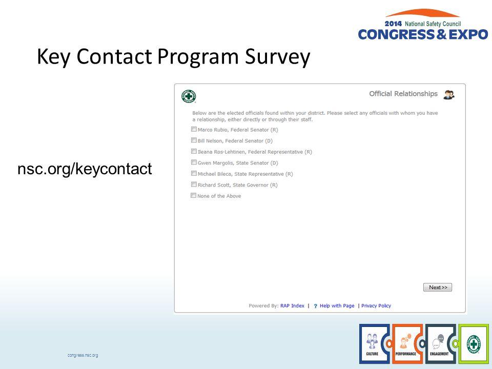 congress.nsc.org Key Contact Program Survey nsc.org/keycontact