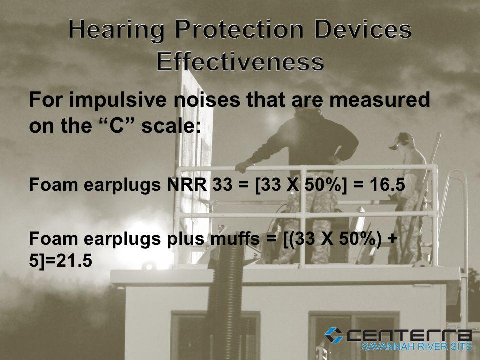 For impulsive noises that are measured on the C scale: Foam earplugs NRR 33 = [33 X 50%] = 16.5 Foam earplugs plus muffs = [(33 X 50%) + 5]=21.5