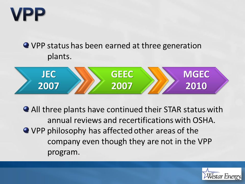 VPP status has been earned at three generation plants.