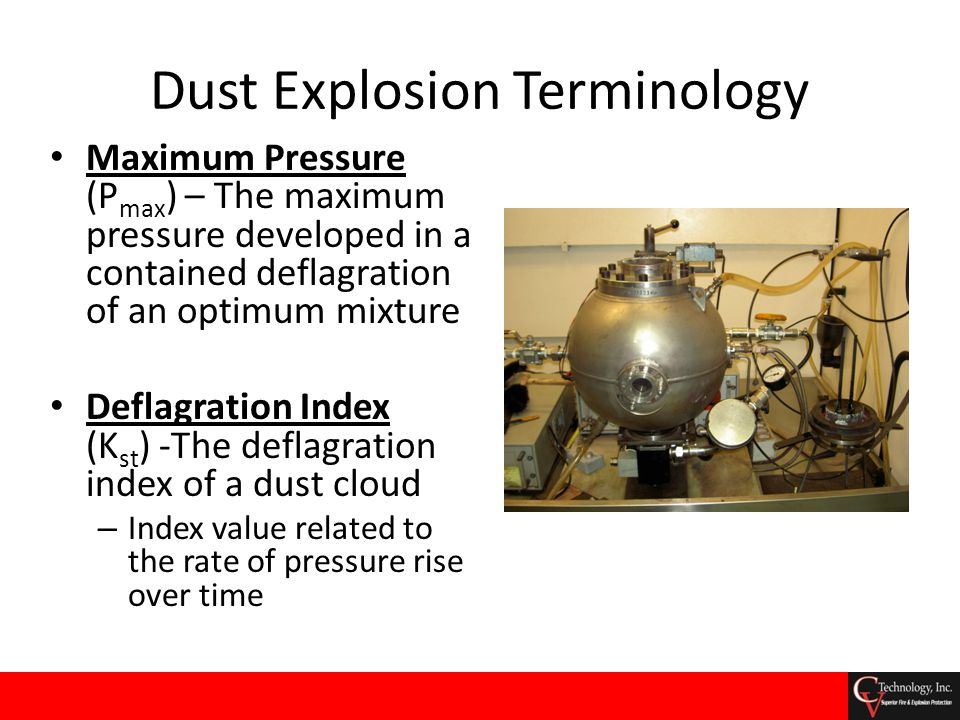 Dust Explosion Terminology Maximum Pressure (P max ) – The maximum pressure developed in a contained deflagration of an optimum mixture Deflagration I