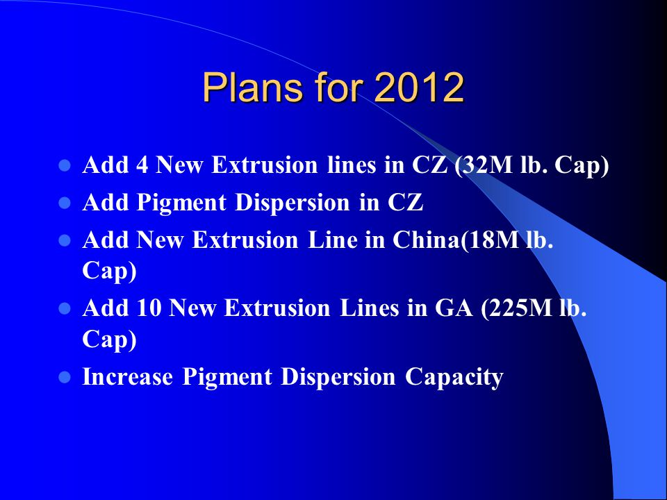 Plans for 2012 Add 4 New Extrusion lines in CZ (32M lb.