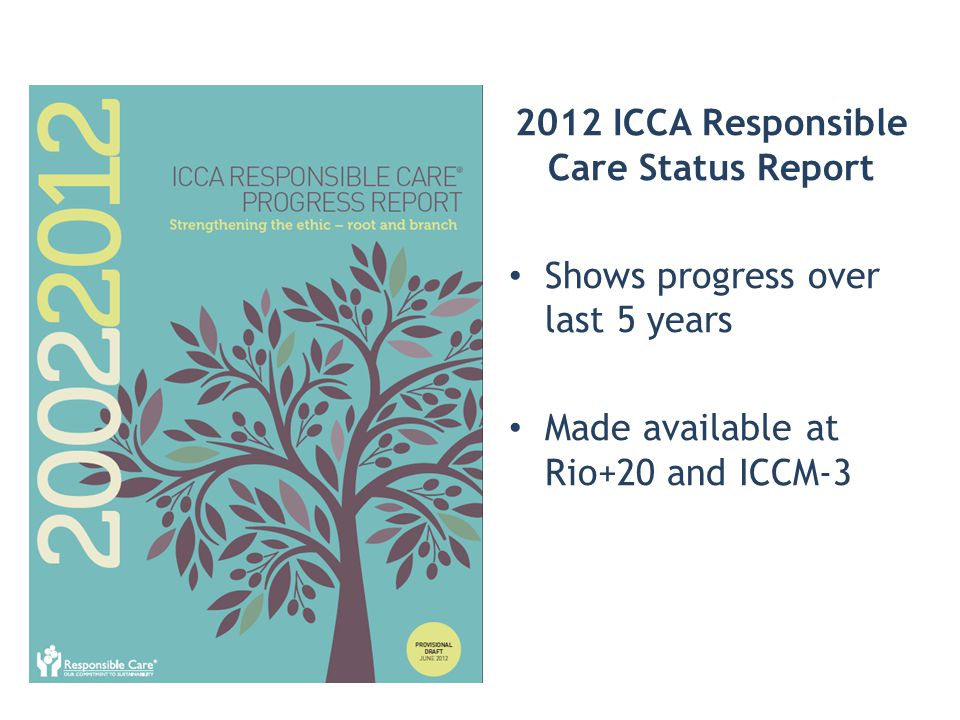 2012 ICCA Responsible Care Status Report Shows progress over last 5 years Made available at Rio+20 and ICCM-3