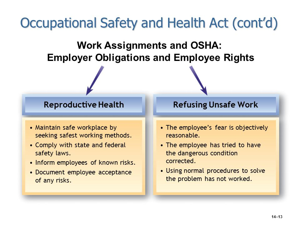 14–13 Occupational Safety and Health Act (cont'd) Reproductive Health Maintain safe workplace by seeking safest working methods.
