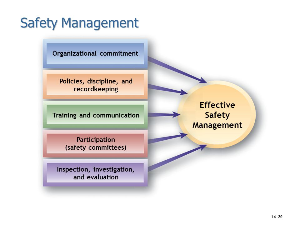 14–20 Safety Management Organizational commitment Policies, discipline, and recordkeeping Training and communication Participation (safety committees) Inspection, investigation, and evaluation Effective Safety Management