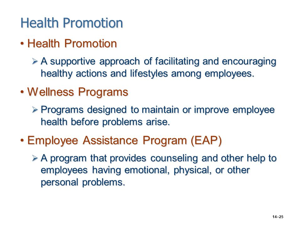 14–25 Health Promotion Health PromotionHealth Promotion  A supportive approach of facilitating and encouraging healthy actions and lifestyles among employees.