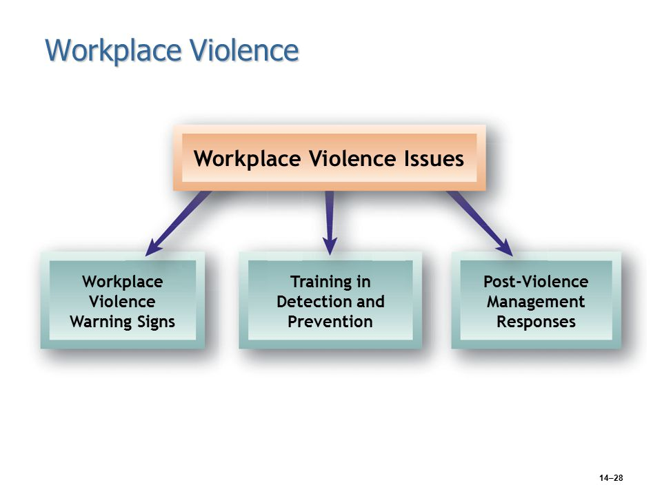 14–28 Workplace Violence Workplace Violence Issues Workplace Violence Warning Signs Training in Detection and Prevention Post-Violence Management Responses