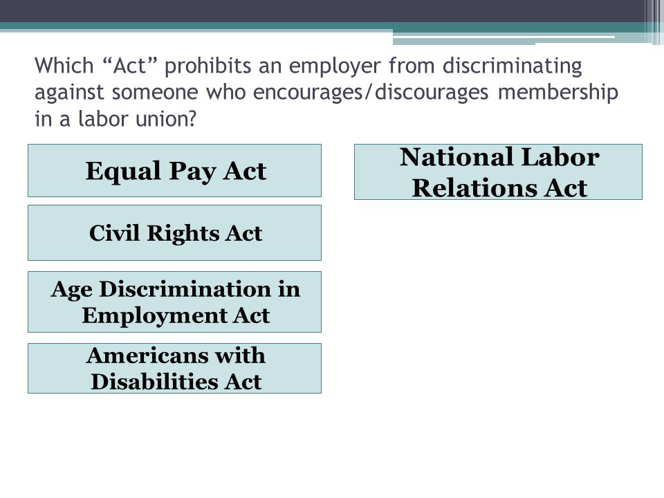 Which Act prohibits an employer from discriminating against someone who encourages/discourages membership in a labor union.