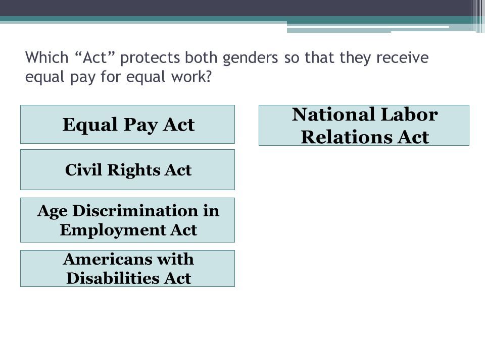 Which Act protects both genders so that they receive equal pay for equal work.