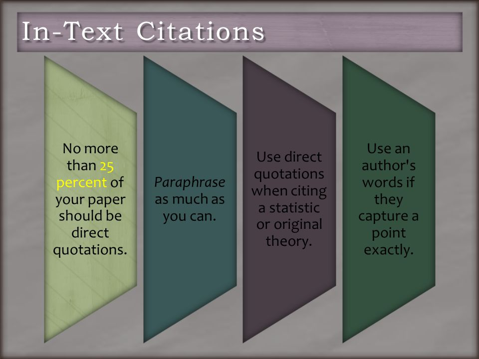 No more than 25 percent of your paper should be direct quotations.