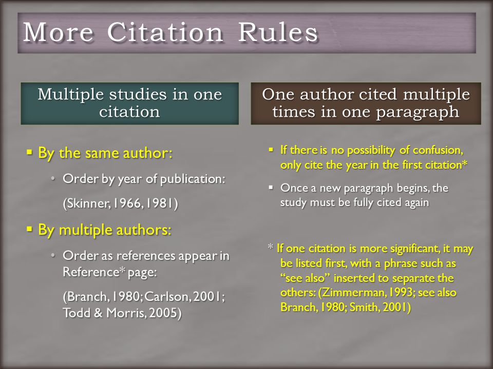  By the same author: Order by year of publication: (Skinner, 1966, 1981)  By multiple authors: Order as references appear in Reference* page: (Branch, 1980; Carlson, 2001; Todd & Morris, 2005) One author cited multiple times in one paragraph  If there is no possibility of confusion, only cite the year in the first citation*  Once a new paragraph begins, the study must be fully cited again * If one citation is more significant, it may be listed first, with a phrase such as see also inserted to separate the others: (Zimmerman, 1993; see also Branch, 1980; Smith, 2001)