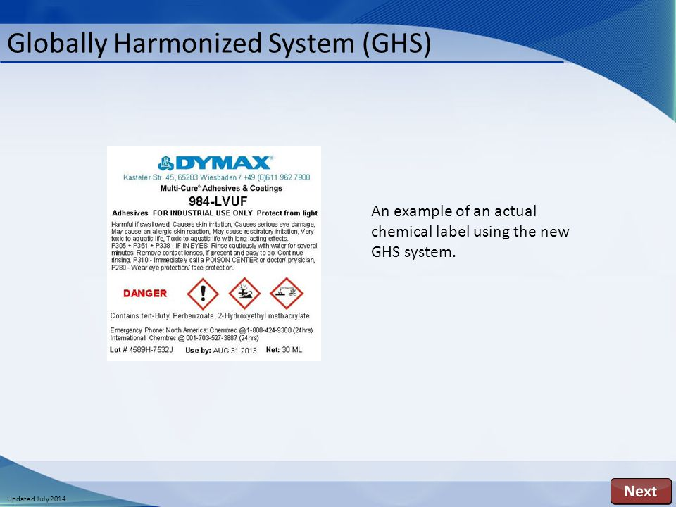 Updated July 2014 Globally Harmonized System (GHS) An example of an actual chemical label using the new GHS system.