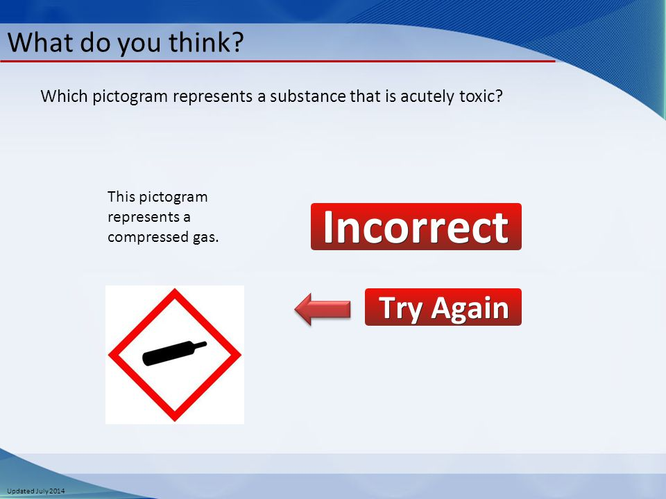 Updated July 2014 What do you think. This pictogram represents a compressed gas.