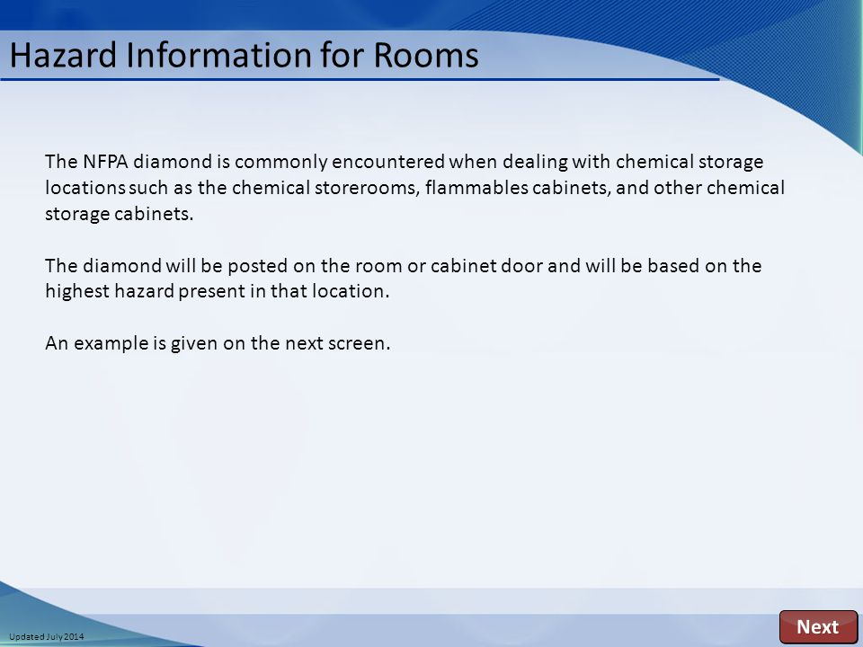 Updated July 2014 Hazard Information for Rooms The NFPA diamond is commonly encountered when dealing with chemical storage locations such as the chemical storerooms, flammables cabinets, and other chemical storage cabinets.