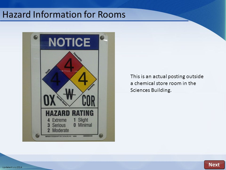 Updated July 2014 Hazard Information for Rooms This is an actual posting outside a chemical store room in the Sciences Building.