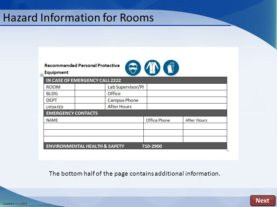 Updated July 2014 Hazard Information for Rooms The bottom half of the page contains additional information.