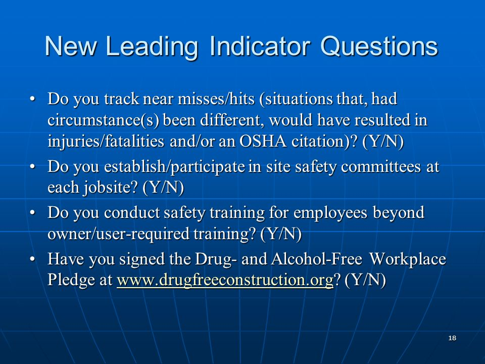 New Leading Indicator Questions Do you track near misses/hits (situations that, had circumstance(s) been different, would have resulted in injuries/fatalities and/or an OSHA citation).