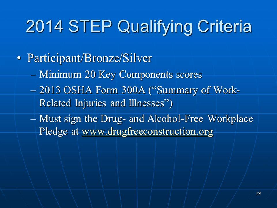"2014 STEP Qualifying Criteria Participant/Bronze/SilverParticipant/Bronze/Silver –Minimum 20 Key Components scores –2013 OSHA Form 300A (""Summary of W"