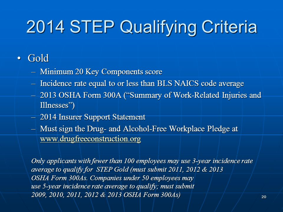 2014 STEP Qualifying Criteria GoldGold –Minimum 20 Key Components score –Incidence rate equal to or less than BLS NAICS code average –2013 OSHA Form 300A ( Summary of Work-Related Injuries and Illnesses ) –2014 Insurer Support Statement –Must sign the Drug- and Alcohol-Free Workplace Pledge at www.drugfreeconstruction.org www.drugfreeconstruction.org Only applicants with fewer than 100 employees may use 3-year incidence rate average to qualify for STEP Gold (must submit 2011, 2012 & 2013 OSHA Form 300As.