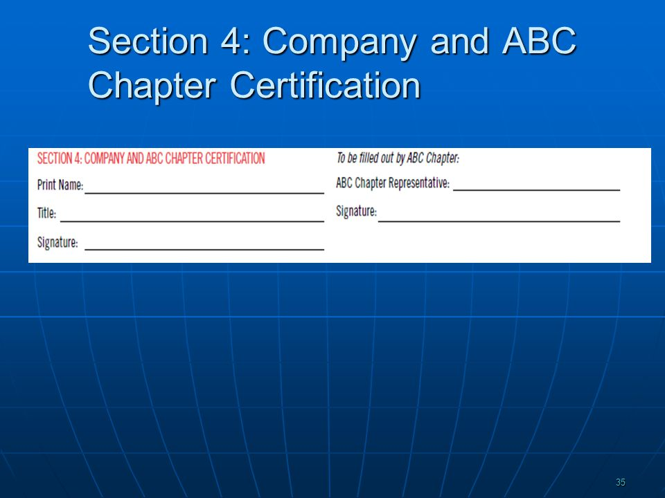 Section 4: Company and ABC Chapter Certification 35