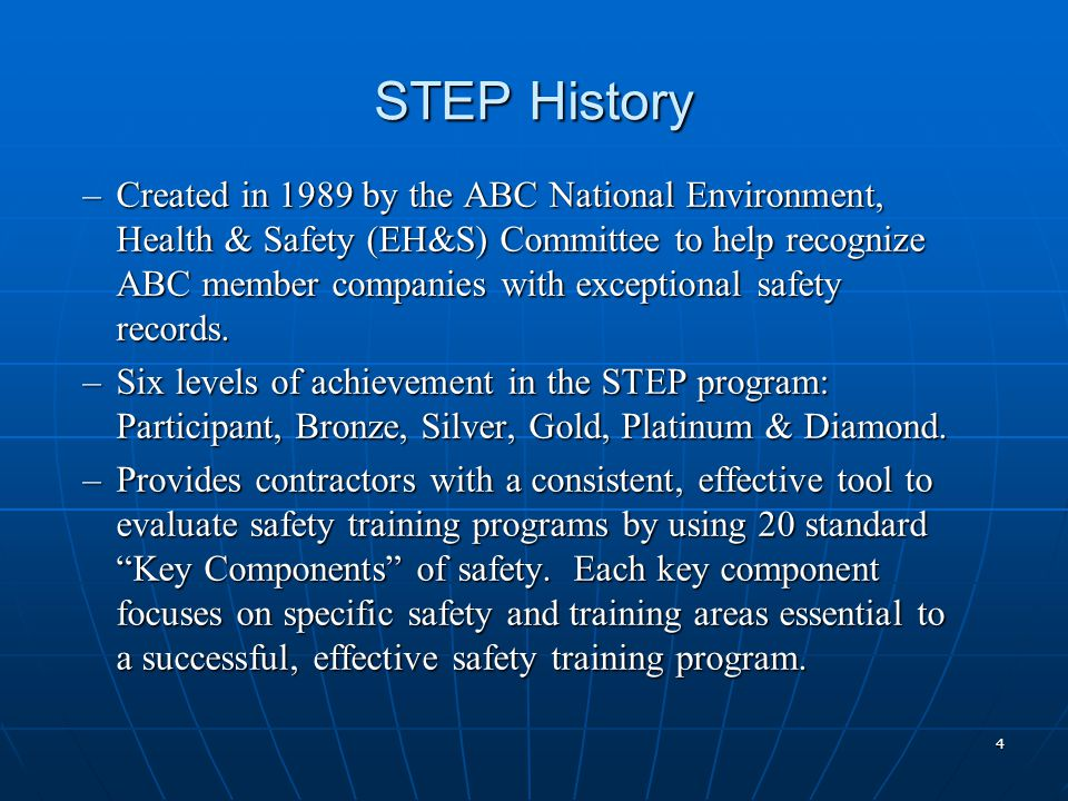 STEP History –Created in 1989 by the ABC National Environment, Health & Safety (EH&S) Committee to help recognize ABC member companies with exceptional safety records.