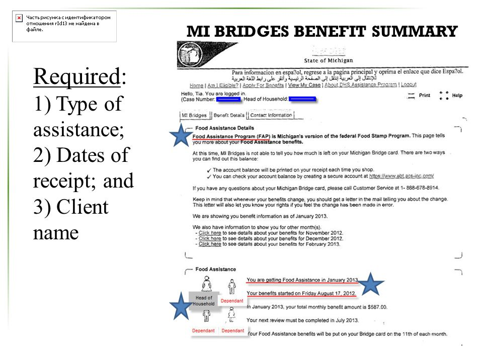 Required: 1) Type of assistance; 2) Dates of receipt; and 3) Client name MI BRIDGES BENEFIT SUMMARY