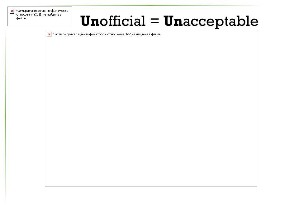 Unofficial = Unacceptable