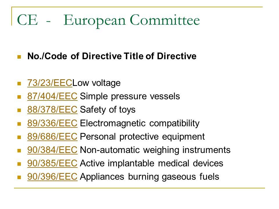 CE - European Committee No./Code of Directive Title of Directive 73/23/EECLow voltage 73/23/EEC 87/404/EEC Simple pressure vessels 87/404/EEC 88/378/EEC Safety of toys 88/378/EEC 89/336/EEC Electromagnetic compatibility 89/336/EEC 89/686/EEC Personal protective equipment 89/686/EEC 90/384/EEC Non-automatic weighing instruments 90/384/EEC 90/385/EEC Active implantable medical devices 90/385/EEC 90/396/EEC Appliances burning gaseous fuels 90/396/EEC