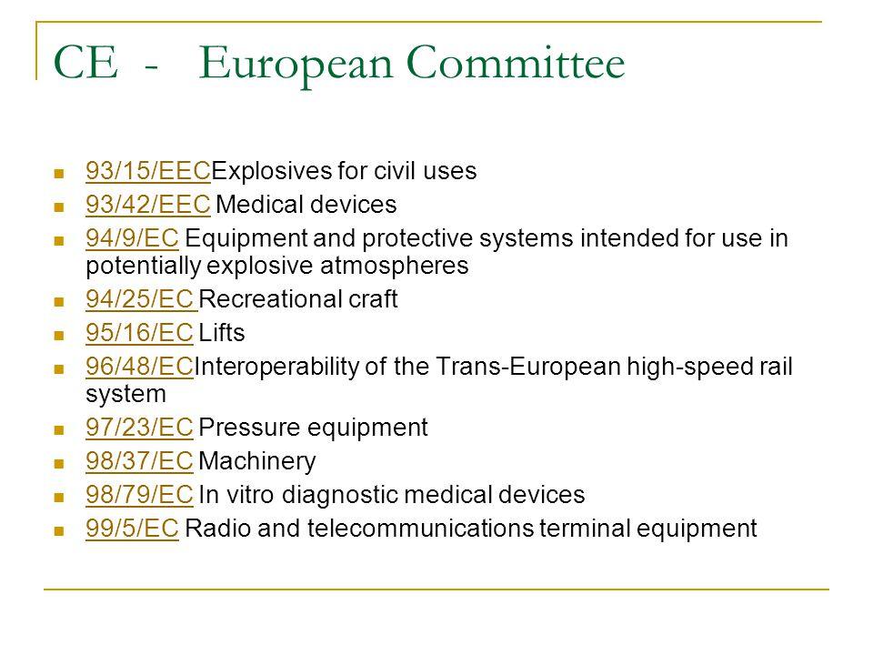 CE - European Committee 93/15/EECExplosives for civil uses 93/15/EEC 93/42/EEC Medical devices 93/42/EEC 94/9/EC Equipment and protective systems intended for use in potentially explosive atmospheres 94/9/EC 94/25/EC Recreational craft 94/25/EC 95/16/EC Lifts 95/16/EC 96/48/ECInteroperability of the Trans-European high-speed rail system 96/48/EC 97/23/EC Pressure equipment 97/23/EC 98/37/EC Machinery 98/37/EC 98/79/EC In vitro diagnostic medical devices 98/79/EC 99/5/EC Radio and telecommunications terminal equipment 99/5/EC