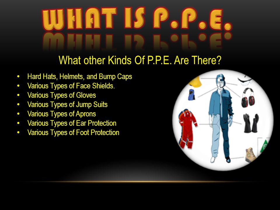 What other Kinds Of P.P.E. Are There? Hard Hats, Helmets, and Bump Caps Various Types of Face Shields. Various Types of Gloves Various Types of Jump S