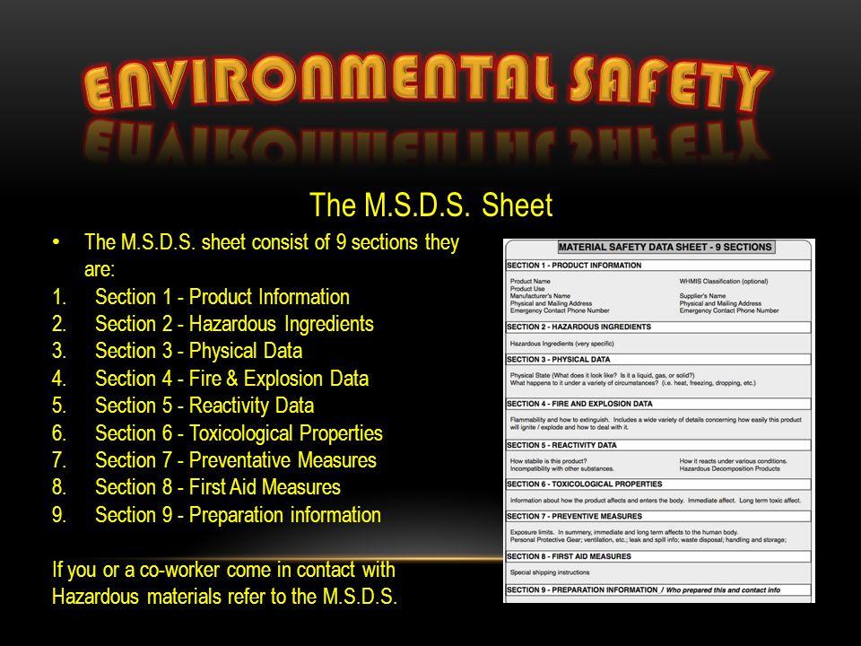 The M.S.D.S. Sheet The M.S.D.S.