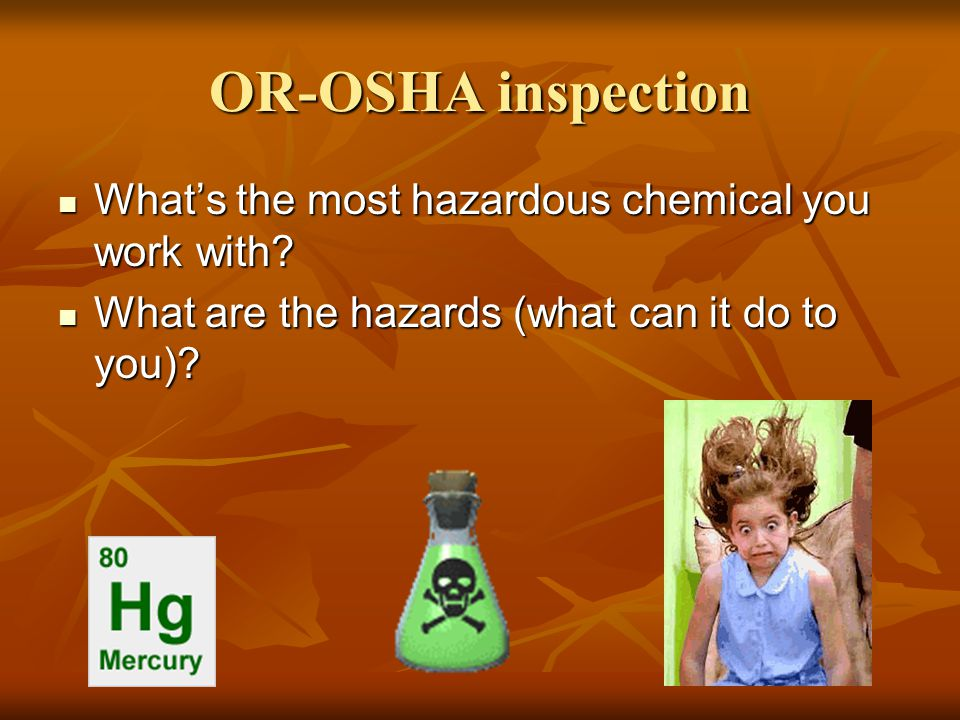 Chemical Hygiene Plan Responsibilities Responsibilities Laboratory CHP Laboratory CHP Laboratory Chemicals Laboratory Chemicals Exposure Sampling Exposure Sampling Safety Controls Safety Controls Employee Training Employee Training Special Precautions Special Precautions Medical Surveillance Medical Surveillance Laboratory Accidents Laboratory Accidents Laboratory Audits Laboratory Audits Chemical Inventory Chemical Inventory Recordkeeping Recordkeeping Based on OSU's plan (template on EH&S website)