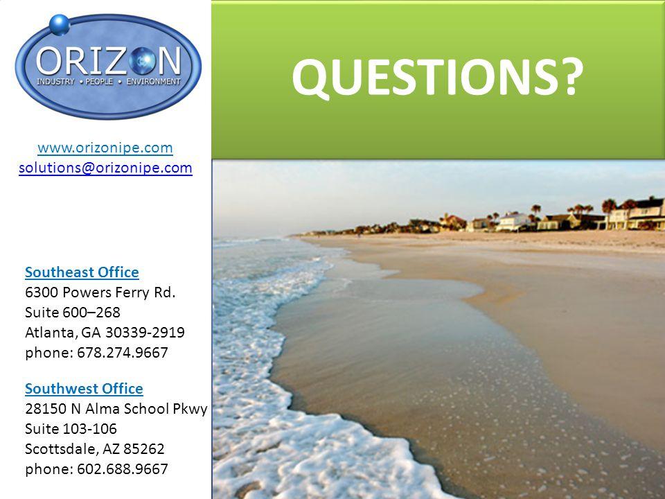 QUESTIONS? Southeast Office 6300 Powers Ferry Rd. Suite 600–268 Atlanta, GA 30339-2919 phone: 678.274.9667 Southwest Office 28150 N Alma School Pkwy S