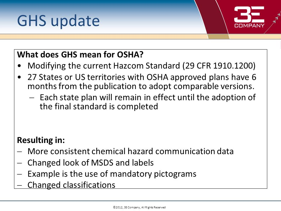 ©2012, 3E Company, All Rights Reserved GHS update What does GHS mean for OSHA.