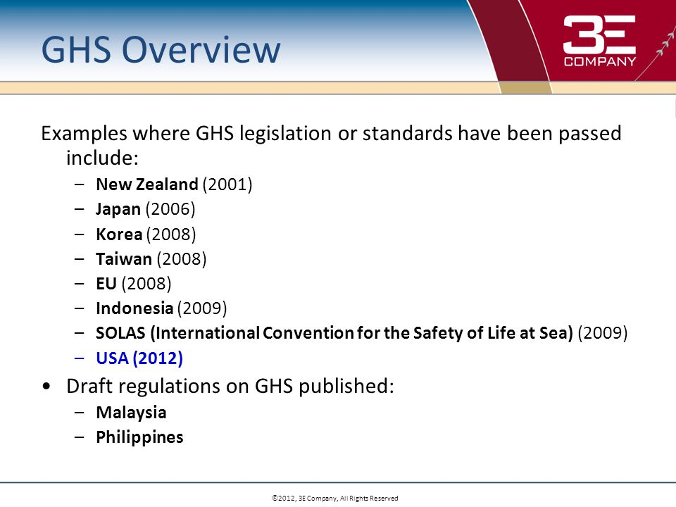 ©2012, 3E Company, All Rights Reserved Economic Analysis GHS Authoring Costs: OSHA vs.