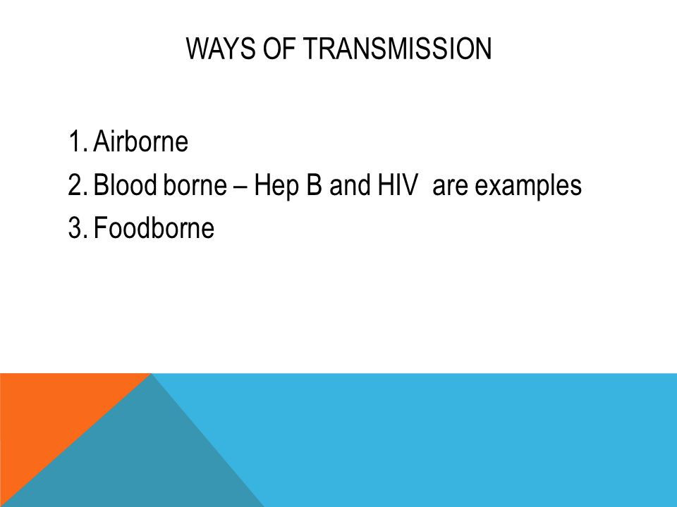 WAYS OF TRANSMISSION 1.Airborne 2.Blood borne – Hep B and HIV are examples 3.Foodborne