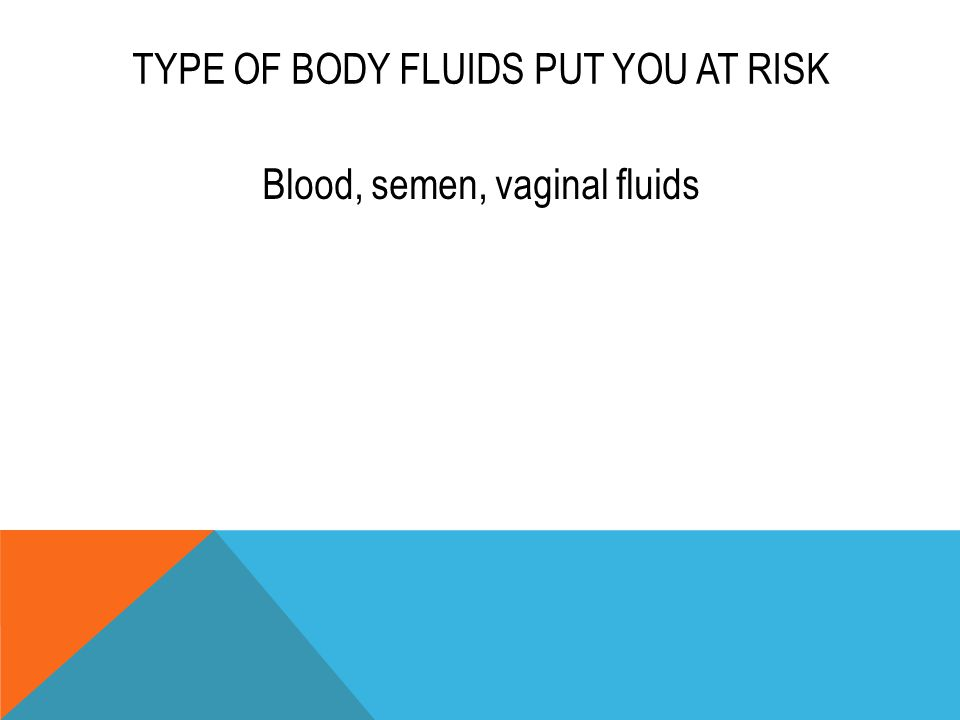 TYPE OF BODY FLUIDS PUT YOU AT RISK Blood, semen, vaginal fluids